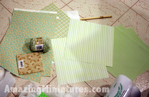 Supplies to wallpaper my Coventry Cottage dollhouse