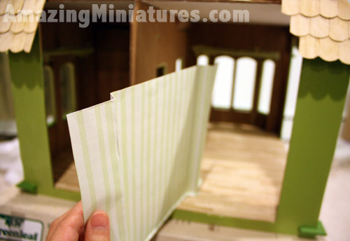 Shaping and folding the paper to wallpaper the Coventry Cottage Dollhouse