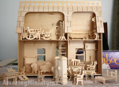 Creatology Dollhouse With Veranda U0026 Furniture Set All Together