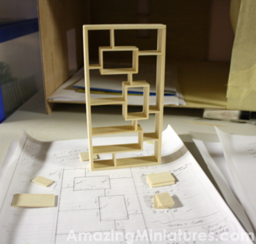 Modern Dollhouse Miniature Bookcase