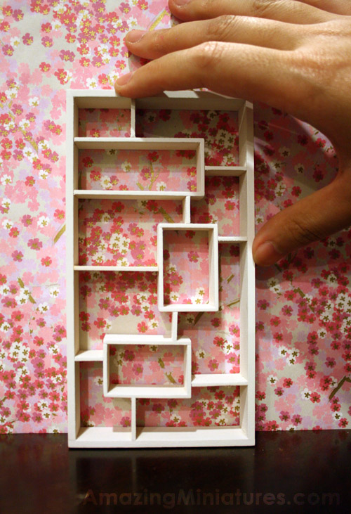 Finished modern dollhouse miniature bookcase, just to give you an idea of the scale
