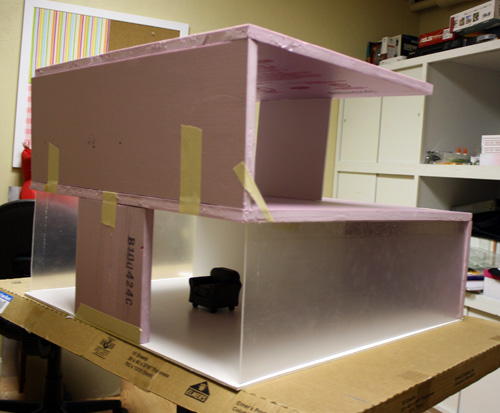 Dry Fitting the Nyne Styrofoam Modern Dollhouse