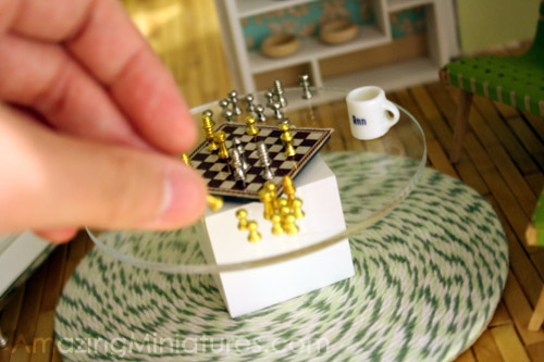 Dollhouse miniature chess set