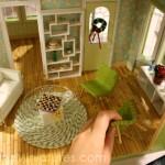 Setting up a dollhouse miniature scene