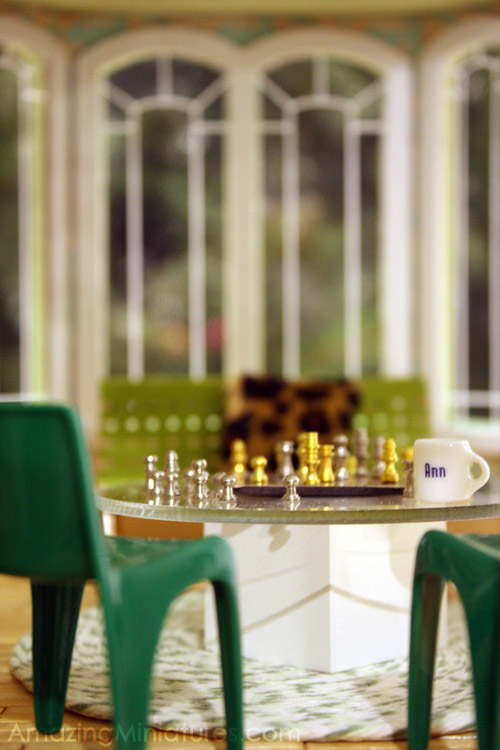modern dollhouse miniature chess scene