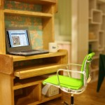 Modern dollhouse miniature office scene
