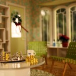 Holiday decorations miniature modern dollhouse scene