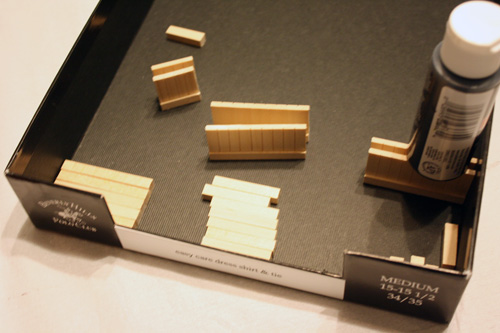 miniature dollhouse furniture building, gluing the pieces together