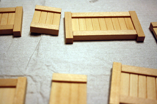 miniature dollhouse furniture building, main components assembled