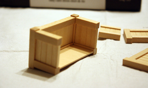 assembling miniature dollhouse furniture, outdoor planters