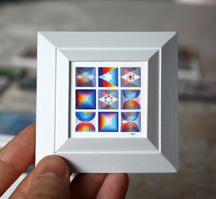 custom miniature yaacov agam artwork framing project 9 up