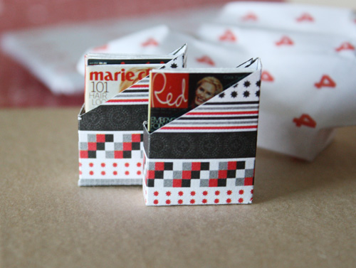 Dollhouse miniature magazine boxes with mini magazines