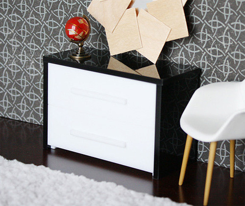 Minimalist Dresser Drawers - Modern Dollhouse Furniture