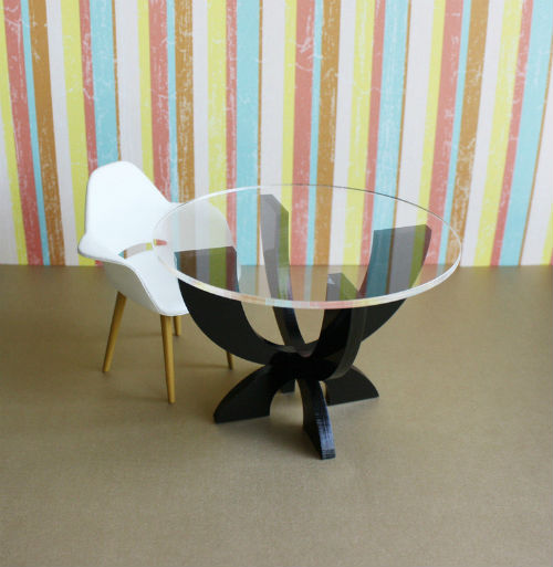 Modern Dollhouse Furniture XCurve Table, Etsy TeamMIDS Mini of the Week.