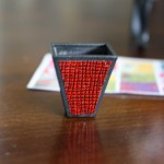 Miniature swap from FranMadeMinis: red waste basket