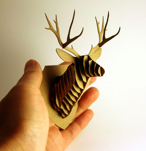 Prototype 2 Miniature Cardboard Deer Head, Trophy Head